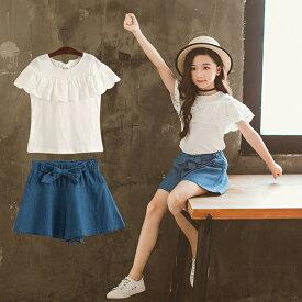 韓国子供服 子供 2点セット セットアップ トップス+スカート 子供服 女の子 カジュアル ビーチ 海 旅行