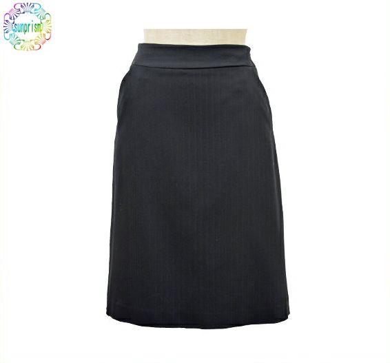ビジネススカート 台形スカート ブラック(シャドーストライプ) 64cm67cm70cm73cm76cm80cm84cm【訳あり】【あす楽対応】