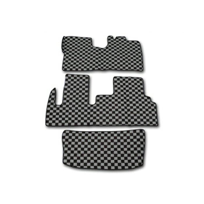 LA600S LA610S タント タントカスタム チェック柄 フロアマット 黒/灰 3点セット