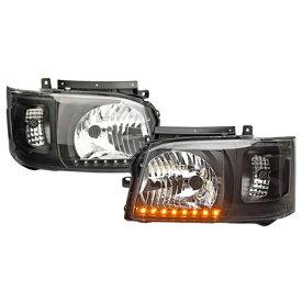 200系 ハイエース 1型 2型 ヘッドライト LEDライン付き アウディ風 Ver,2
