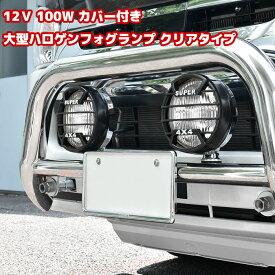 12V用 100W カバー付き大型ハロゲンフォグランプ クリアタイプ 2個セット メッキ仕様 スイッチ配線付き