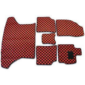 プリウス ZVW30 フロアマット チェック柄 黒 赤 6点セット 30系