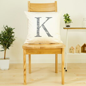 クッションカバー おしゃれ 45×45cm SROWシリーズ アルファベット 「K」 ケイ ケー 洗える メール便送料無料