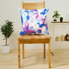 クッションカバー おしゃれ 45×45cm SROWシリーズ「アートフラワー(ブルー)」 花 北欧 水彩画 パープル 洗える メール便送料無料