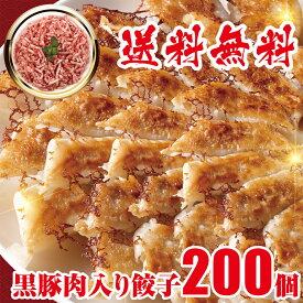 黒豚肉入り 冷凍餃子 200個 送料無料 業務用 おかず ビール 工場直売