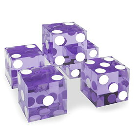 19mm Polished A Grade Serialised Set of 5 Violet Casino Dice with Razor Corners and Edges By Brybelly