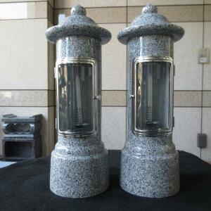 墓用 ローソク立て一対 2本 風よけ 風防ガラス付 ロウソク立て 燈明灯 灯篭 御影石のろうそく立て 送料無料