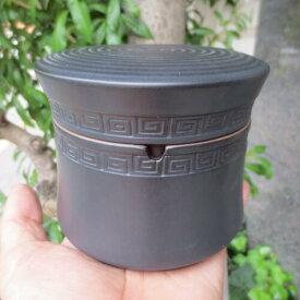 蓋つき フタ付 陶器 ふた付き 灰皿 ブラック おしゃれ 分割 セパレート