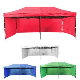 タープテント 3x6m 大型タープテント 3面 サイドシート 横幕付 大型テント 日除け 頑丈フレーム 防水 少年野球 サッカー 屋台 イベント テント