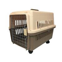 ペットキャリーケースLサイズ中型犬ハードタイプ外出用ケージゲージ犬小屋65×46×46cmキャスター付き【送料無料】
