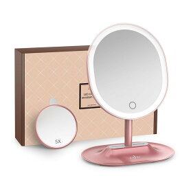 Anjou 化粧ミラー LED 卓上ミラー 5倍 拡大鏡 タッチパネル 調光可能 120度回転 USB充電 トレー付き sl01