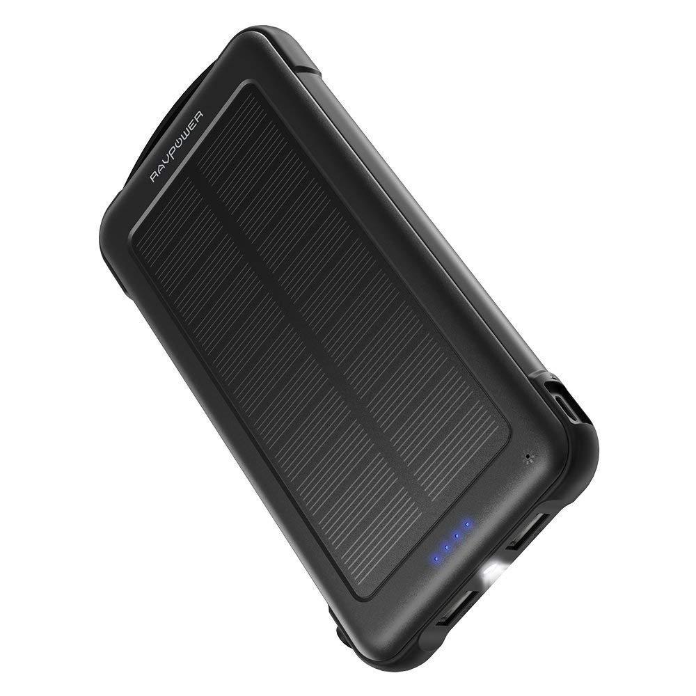 RAVPower モバイルバッテリー 10000mAh ソーラーチャージャー 太陽光で充電可 Android/Apple/iPad等対応 災害/旅行/アウトドアに大活躍