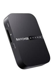 RAVPower Wi-Fi SDカードリーダー 【ワイヤレス共有/高速データ転送/ワンキーバックアップ/有線LANをWiFi化】 ワイヤレス SDカードリーダー ポケットWiFiルーター ⼤型6700mAhバッテリー内蔵 最大4TBまで対応 iOS/Android対応 FileHub