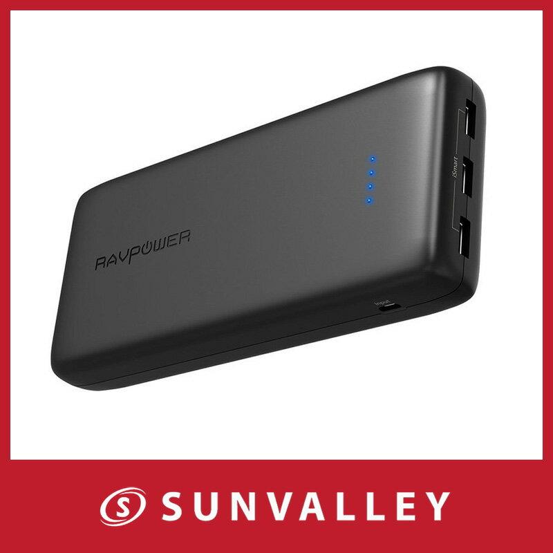 モバイルバッテリー RAVPower 32000mAh 超大容量 3ポート ポータブル充電器 急速充電(2.4A入力、合計6A出力、高品質リチウムポリマー電池使用)スマホ & タブレット 対応