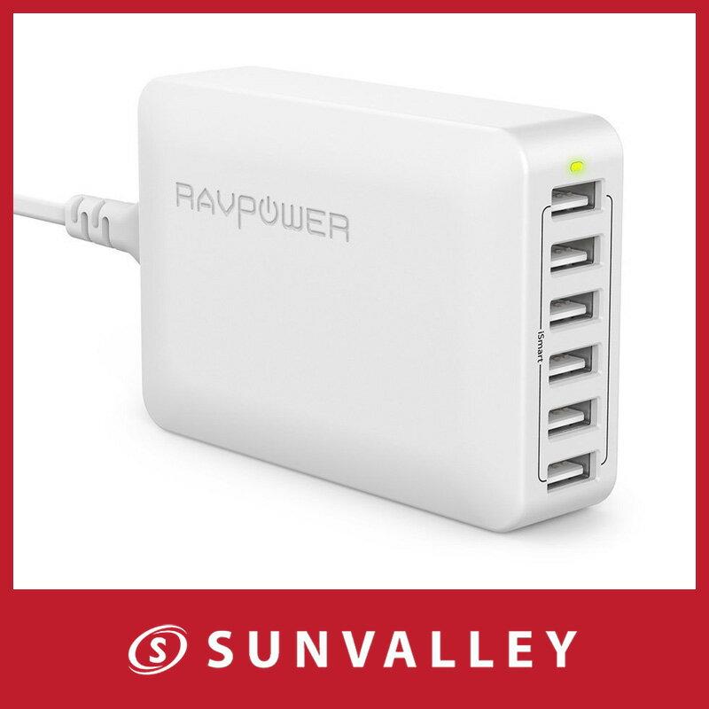RAVPower USB充電器 (60W 6ポート) USB コンセント 急速 iPhone / iPad / Android 等対応
