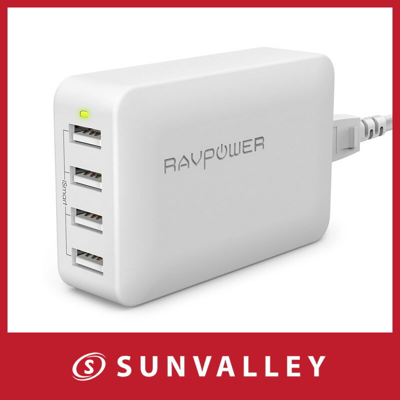 usb充電器 RAVPower 40W 4ポート 急速充電器 usb ac アダプタ ( 折畳式プラグ変換アダプター 、 AC電源コード付き) スマホ タブレット モバイルバッテリー 等対応