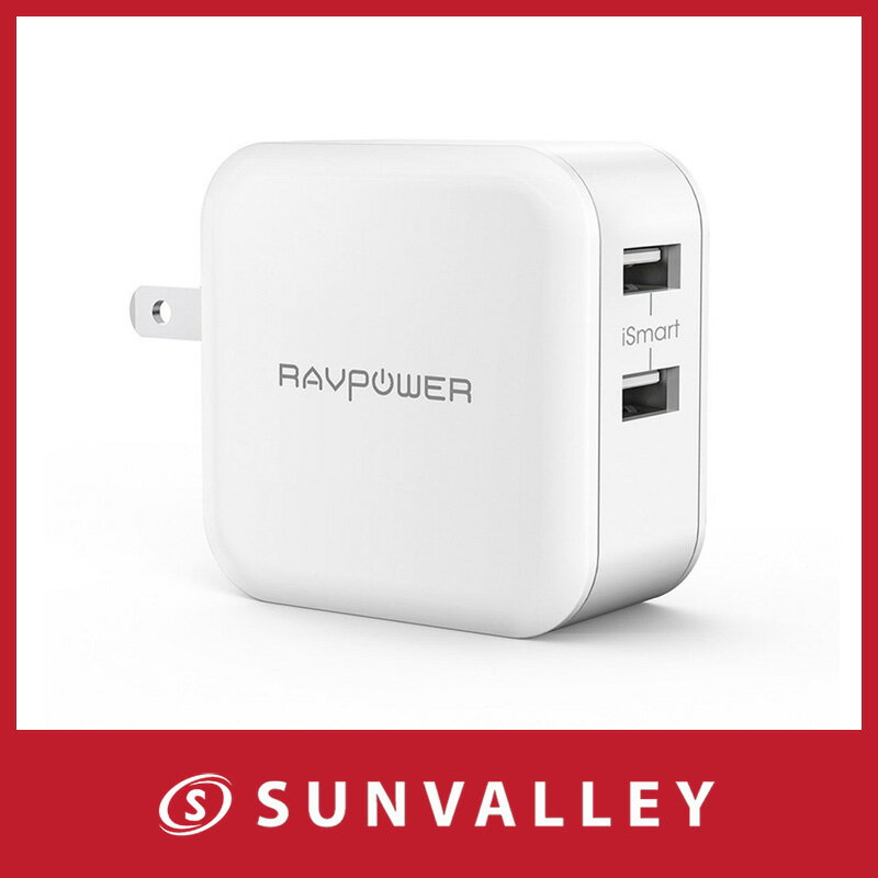 RAVPower USB 充電器 急速 (24W 2ポート) 折畳式プラグ iPhone/iPad/Android 等対応