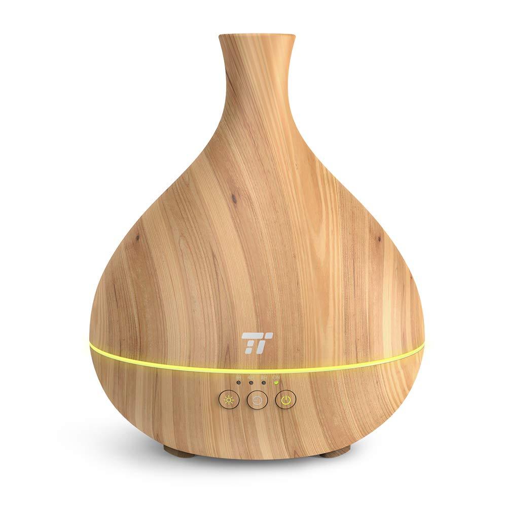 アロマディフューザー 精油を1回入れて15時間持続芳香 TaoTronics 超音波式 卓上加湿器 500ml 空焚き防止 14色LEDライト 木目調 独創性の精油チューブ ミスト2段階調節 25時間連続使用 タイマー付