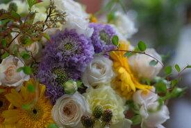 フラワーアレンジメント【イエローグラデーション】:花束:手土産、記念日(各イベント)、ご自宅、お誕生日