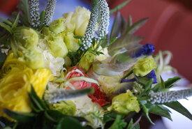 フラワーアレンジメント【イエローグリーン】花束:手土産、記念日(各イベント)、ご自宅、お誕生日