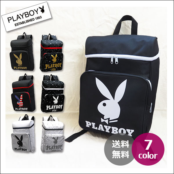 【PLAYBOY】【送料無料】PLAYBOY デイパック リュック BAG メンズ レディース 通学 通勤 おしゃれ 大容量 プレイボーイ バッグ 大人 可愛い ブラック ホワイト ゴールド レッド サニプレ