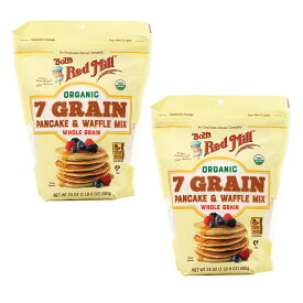 【送料無料】 ボブズレッドミル オーガニック 7穀 パンケーキ&ワッフルミックス 680g 2個セット【Bob's Red Mill】Organic 7 Grain Pancake & Waffle Mix 24 oz 2set