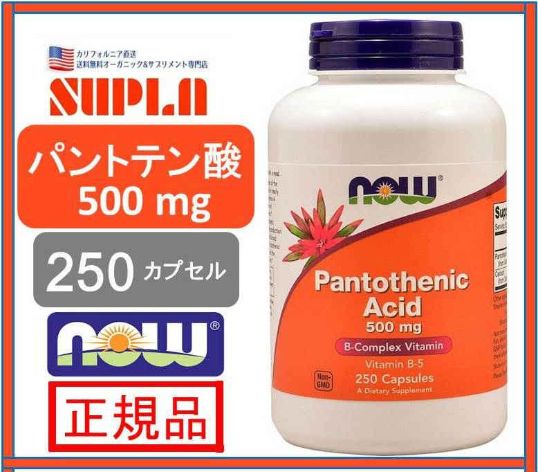 送料無料【NOW FOODS】ナウフーズPANTOTHENIC ACID パントテン酸 500mg 250錠