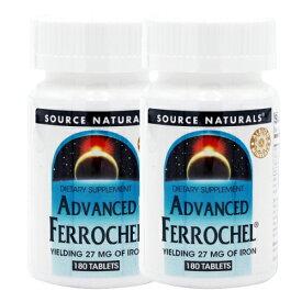 【送料無料】 鉄分 アドバンスドフェロケル 27mg 180タブレット ソースナチュラルズ 2個セット 【Source Naturals】Advanced Ferrochel 27 mg 180 Tablets 2set