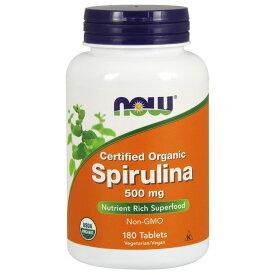 ★送料無料★ナウフーズ オーガニック スピルリナ 500 mg 180 錠【Now Foods】Certified Organic Spirulina 500 mg 180 Tablets