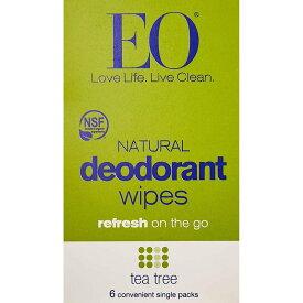 ★送料無料★イーオープロダクツ デオドラントティッシュ ティーツリー 6パック入り【EO Products】Deodorant Wipes Tea Tree 6 ct