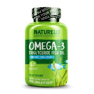 【送料無料】 ナチュレロ オメガ3 トリグリセリド魚油 1100 mg 60ソフトジェル フィッシュオイル【Naturelo】Omega-3 Triglyceride Fish Oil 1,100 mg 60 Softgels