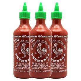 【送料無料】 482g シラチャーソース 本家フイフォンフーズ スリラチャソース ホットチリソース ニワトリパッケージ ニワトリマークが目印 タバスコ やみつき 3本セット【Huy Fong Foods】Sriracha Hot Chili Sauce 17 oz