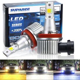 【2020年最新モデル】SUPAREE H8/H11 LEDフォグランプ 3色切り替え カラーチェンジ ledフォグ ホワイト(6000K)/イエロー(3000K)/ブルー(10000K) 車検対応 DC12-24V 24W 車用LEDバルブ 2個セット 3年保証付き