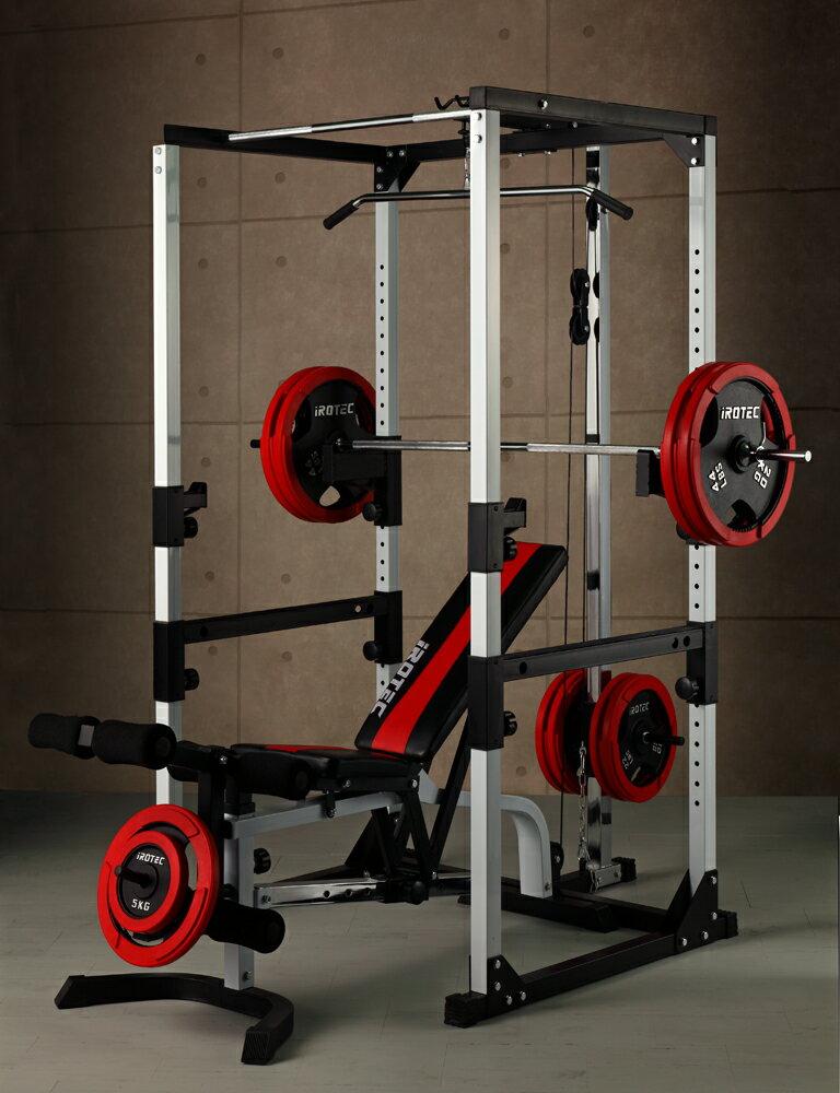 【25日はポイントアップDAY!】IROTEC(アイロテック)マスキュラーセットR140/パワーラック+インクラインベンチ+ダンベルバーベルセット[140kgセット]トレーニング器具・ベンチプレス・トレーニングマシン・マルチジム