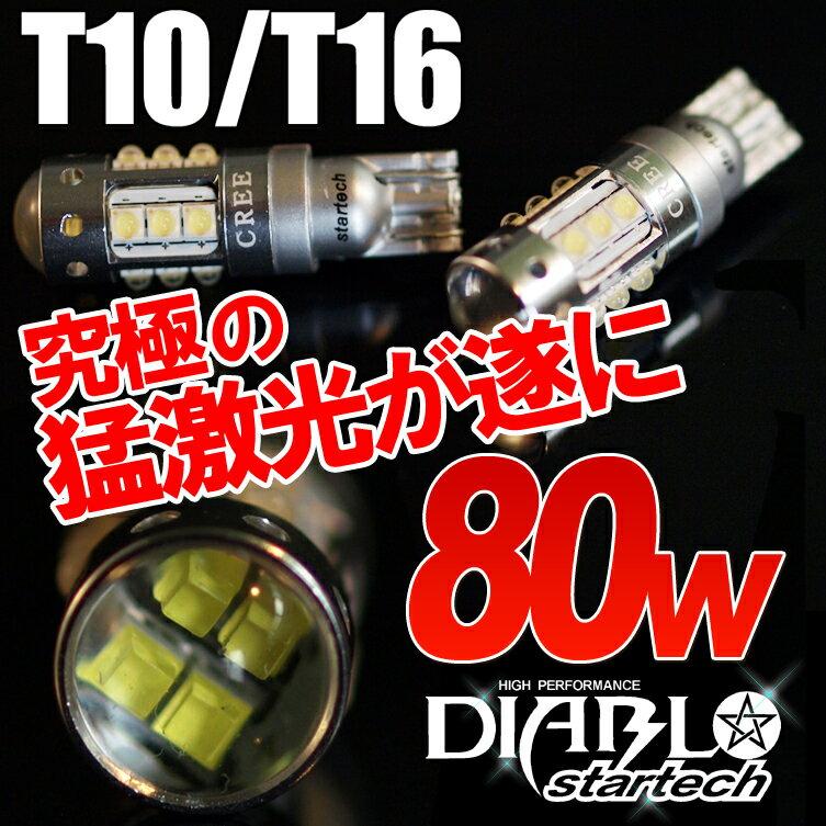 【送料無料】1年保証 LEDバルブ 80W T10/T16 ウェッジ球 ポジション バックランプ エルグランド セレナ ワゴンR ハスラー ジムニー ヘッドライト ランプ テール