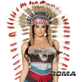 コスプレ 衣装 ROMA COSTUME ローマ ヘッドドレス RM- H4727 インディアン 正規品 フェザー はね 羽 かぶりもの ウォーボンネット ネイティブ アメリカン コスチューム 衣装 衣裳 仮装 セクシー かわいい ファッション おしゃれ コーデ ハロウィン セレブ 海外