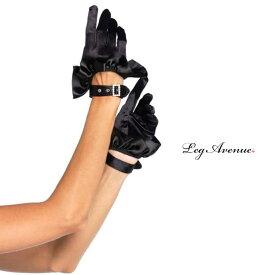 コスプレ 衣装 LEG AVENUE レッグアベニュー グローブ LA 2028 ブラック 正規品 コスプレ衣装 サテン 黒 リボン フリーサイズ ショートグローブ コスチューム ラインストーン ダンス ステージ ショー 結婚式 ウエディング セクシー ロリータ ゴシック かわいい TDL USJ