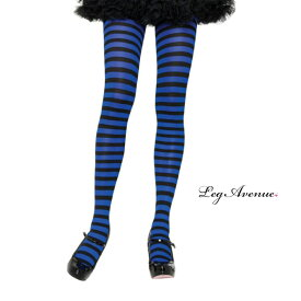 タイツ コスプレ 衣裳 LEG AVENUE レッグアベニュー LA 7100 ブラック / ブルー 正規品 コスプレ衣装 レディース カラータイツ ボーダー しましま 透けにくい ファッション おしゃれ ヘビロテ ロリータ かわいい セクシー ストッキング パンスト 黒 青 TDL USJ