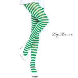タイツ コスプレ 衣裳 LEG AVENUE レッグアベニュー LA 7100 ホワイト / グリーン /ZZ CK/ 正規品 コスプレ衣装 レディース カラータイツ ボーダー しましま 透けにくい ファッション おしゃれ ヘビロテ かわいい セクシー クリスマス サンタ ストッキング パンスト TDL