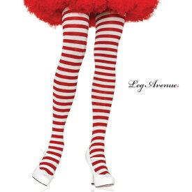タイツ コスプレ 衣裳 LEG AVENUE レッグアベニュー LA 7100 ホワイト / レッド /ZZ CK/ 正規品 コスプレ衣装 レディース カラータイツ ボーダー しましま 透けにくい ファッション おしゃれ ヘビロテ かわいい セクシー クリスマス サンタ ストッキング パンスト TDL USJ
