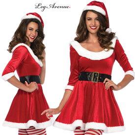 コスプレ 衣装 LEG AVENUE レッグアベニュー LA 86615 クリスマス サンタクロース 3点セット 正規品 コスプレ衣装 仮装 大人用 コスチューム ハロウィン costume メイク ダンス ベリー ドレス 派手 セクシー プリンセス カラー 可愛い フェス 衣裳