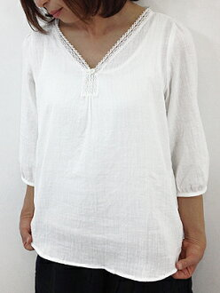 slone square 07068 スロンスクエアスラブダブルガーゼ V neck pullover blouse point digestion