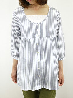 Slone square スロンスクエア striped blouse / tunic-8525, Japan ladies