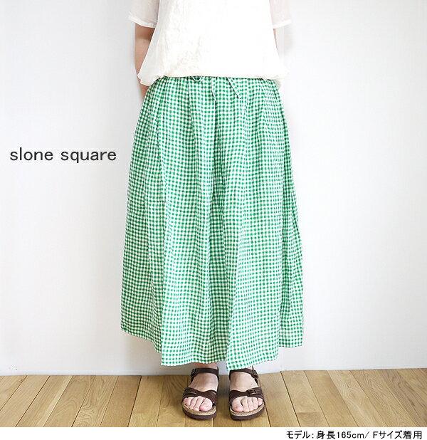 【まとめ買い10%OFFクーポン→6/30】 slone square 8355 スロンスクエア リネンギンガム タックギャザースカート 送料無料