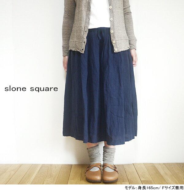 【まとめ買い10%OFFクーポン→6/30】 slone square スロンスクエア 6362 東炊きリネン タックギャザー膝下スカート