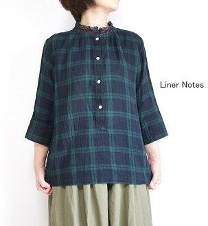 Gauze collar lace w Tartan liner liner Notes 07053 Henry blouse Liner Notes liner notes