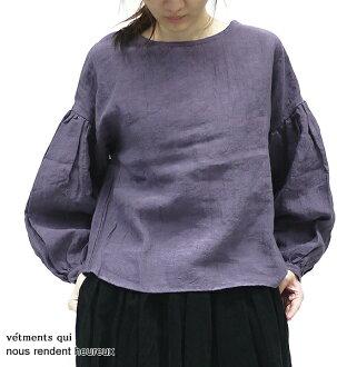 nous rendent heureux 618077 ヌーランドオローリネンワッシャードロップショルダーボリューム sleeve blouse point digestion