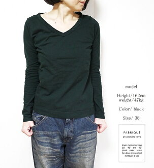 FABRIQUE en planete terre 92001 91007 ファブリケアンプラネテール V L/S-t V neck long sleeves cut-and-sew point digestion cpp new work