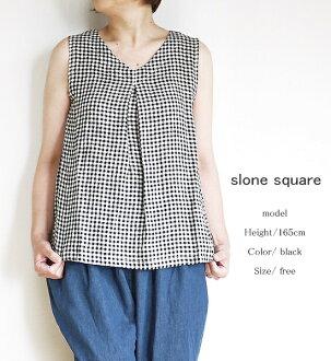 10/1-10% discount coupon 30% off SALE / sale slone square 7870 slum square linen gingham V neck tuck sleeveless blouse 0601 Rakuten card splitter 02P28Sep16
