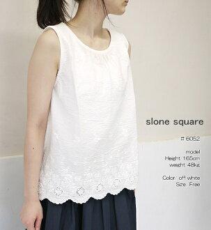 slone square 6052 スロンスクエアスカラップレースノースリーブブラウスポイント digestion